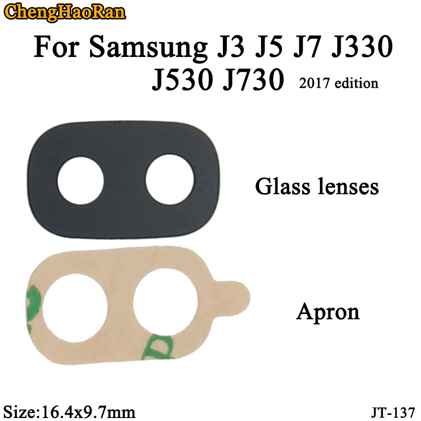 ChengHaoRan 2pcs/lot 16.4x9.7mm For Samsung J3 J5 J7 J330 J530 J730 2017 Edition Mobile Camera Glass Lens