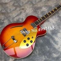 Guitarra eléctrica con núcleo medio vacío, instrumento musical de 6 cuerdas con pintura roja, diapasón de palisandro, ph real, para cuello y ortografía, 360