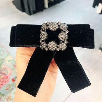 Broche de lazo lujoso coreano i-remiel, lazos de terciopelo, corbata, alfileres y broches, Pin decorativo, vestidos, camisa, accesorio para Collar de niña