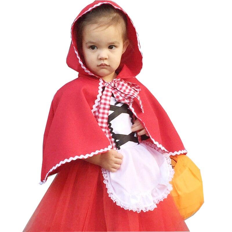 Красная Шапочка для девочек, костюм на Хэллоуин, маленький красный костюм с шапочкой, детское платье с накидкой