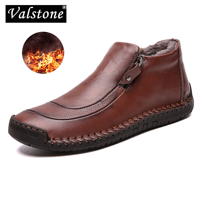 Valstone Handmade Men Casual Leather shoes autumn winter sneakers zipper high tops Street shoes Slip-on Moccasin plus size 38-48