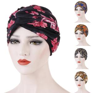Image 1 - Muslim Women Twist Knot Chemo Cap Cancer Hat Turban Hat Bonnet Head Scarf Wrap Indian Hat Beanies Skullies 2019 Arab Islamic Cap