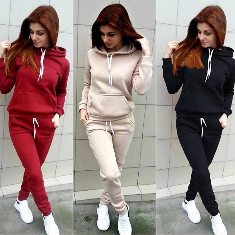 Outfit 2Pcs Women Top and Pant Set Hoodies Letter Print Hooded Blouse Sweats 01
