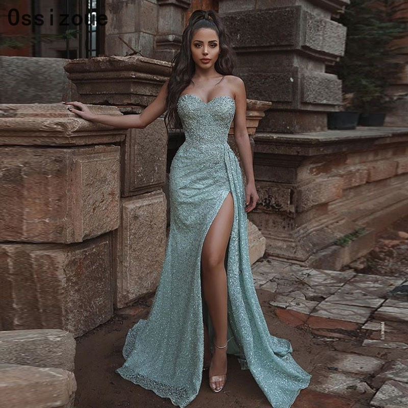Sexy High Slit Prom Dresses Sweetheart Light Green Mermaid Lady Formal Evening Gown Cheap Price YSAN453