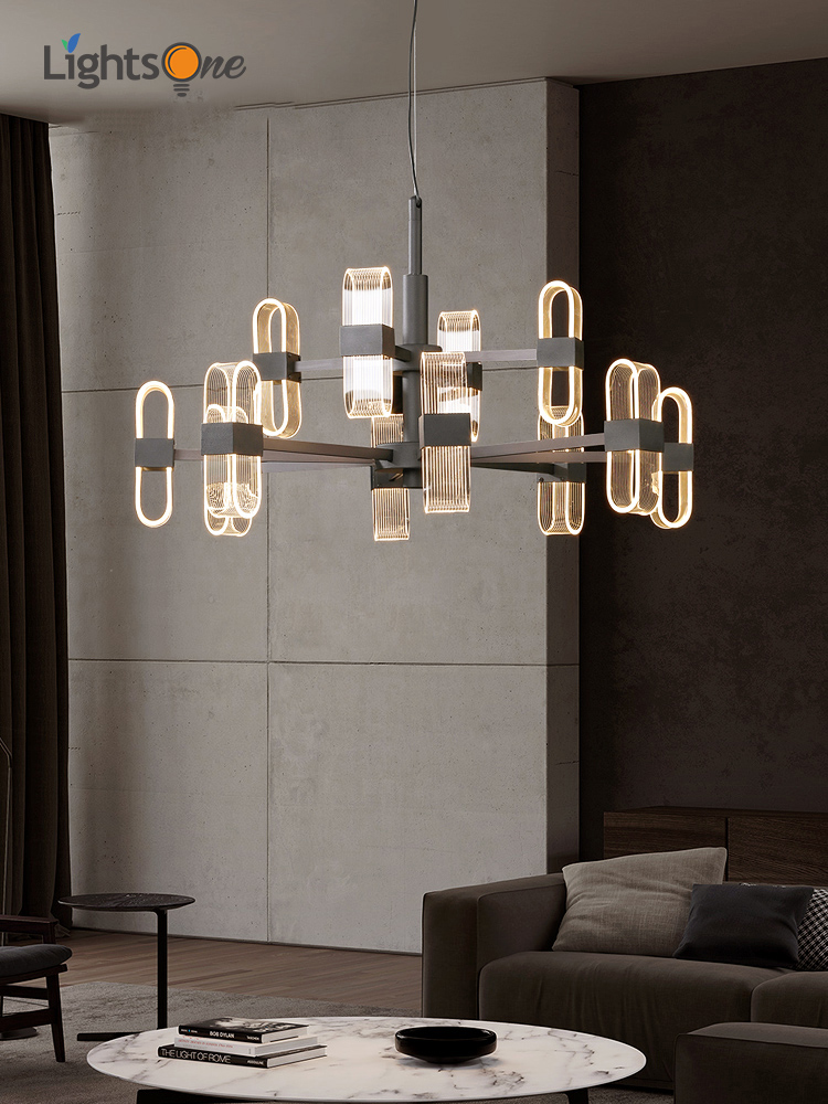 Creative Living Room Chandeliers Post Modern Minimalist Designer Personality Bedroom Light Luxury Model Room Lamps