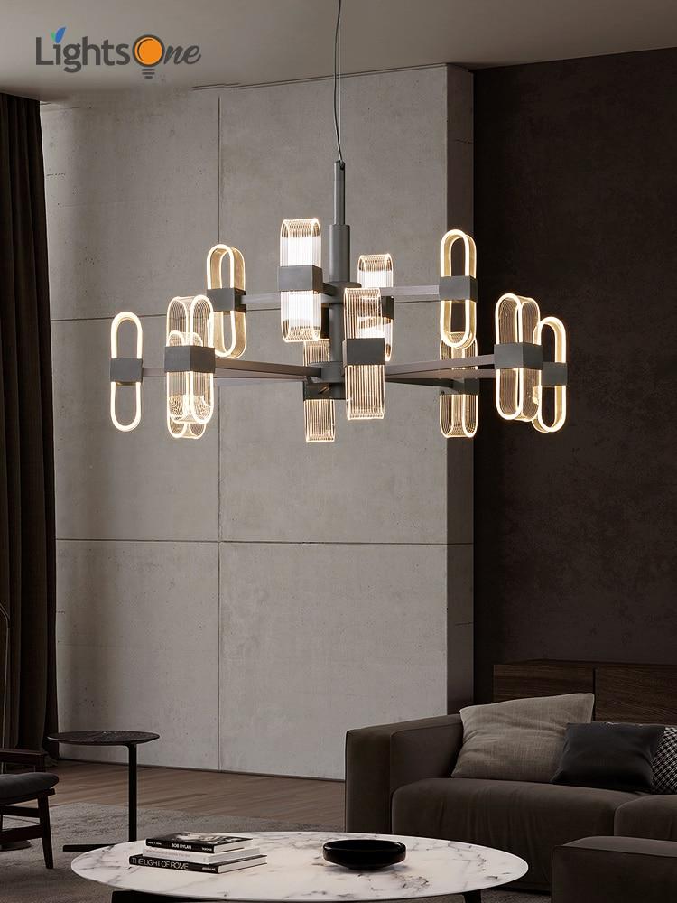 Creative Living Room Chandeliers Post Modern Minimalist Designer Personality Bedroom Light Luxury Model Room Lamps