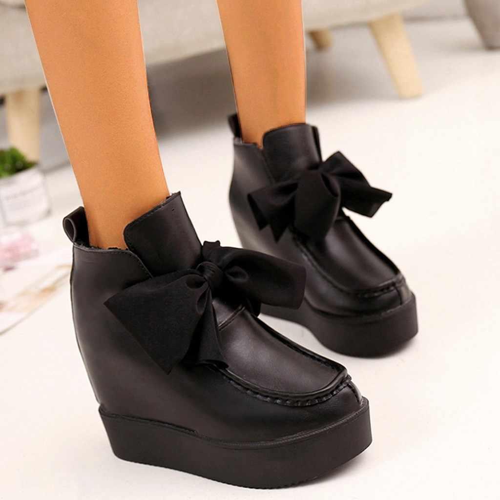Botas de Invierno para mujer abrigadas hasta el tobillo cuñas de punta redonda lazo dulce aumento botas de estilo europeo botas antideslizantes calientes zapato