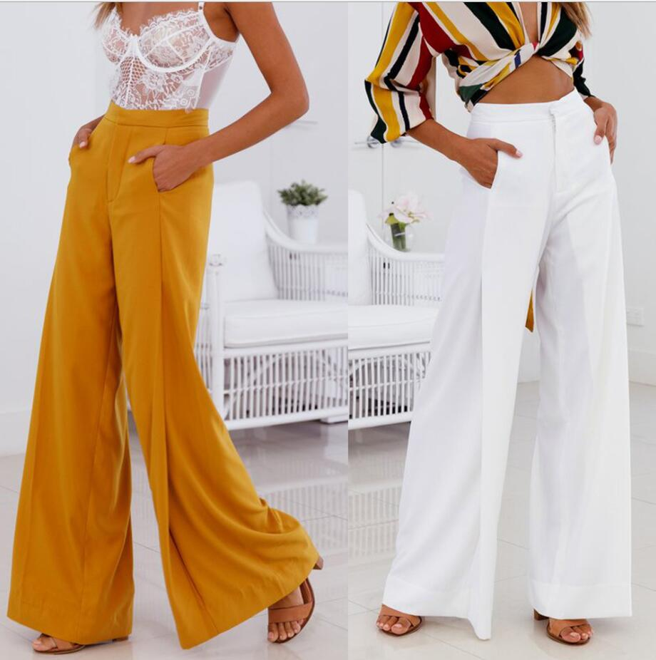 Elegant Women Trousers   Wide     Leg     Pants   Autumn Solid Color High Waist With pockets Loose   Pant   Office Lady Zipper Design Trousers