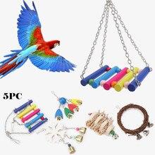 5 шт. игрушки деревянный попугай нашест для птиц Жевательная стойка игрушки круглые бусины в форме сердца, звезды игрушка-попугай игрушки аксессуары поставки S2