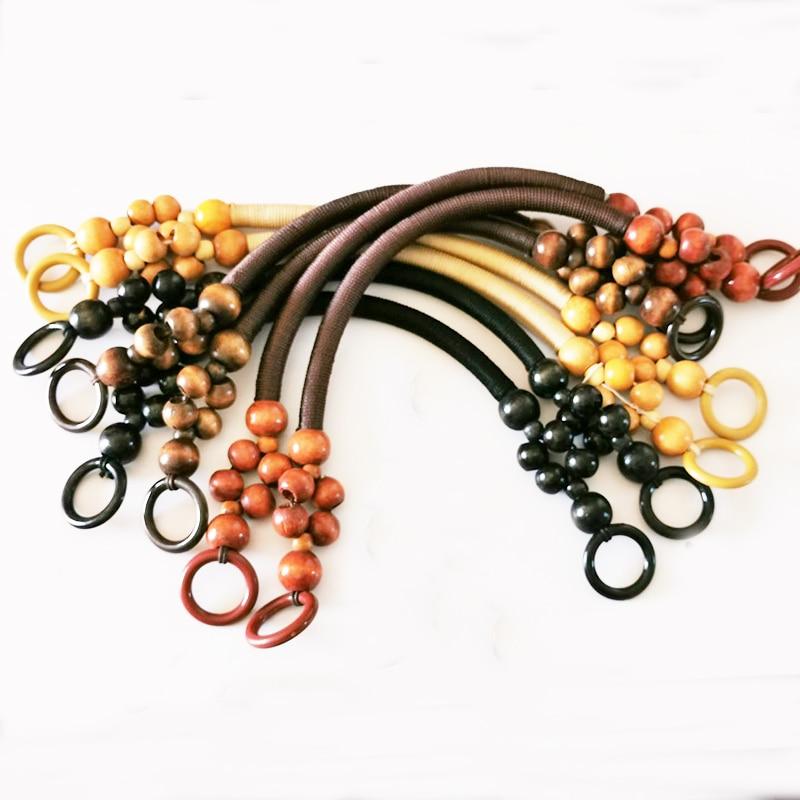 1 Pair Retro Wood Bead Rope Bag Strap Handle Shoulder Belt For Handbag DIY Replacement Woodern Hanger For Bag Making