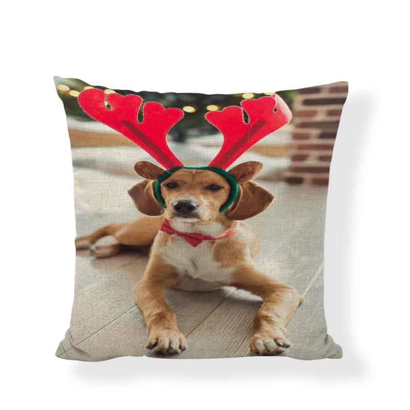 คุณภาพสูงน่ารักสุนัขปลอกหมอนคริสต์มาสถุงน่องคริสต์มาสหมวกคริสต์มาสโซฟาห้องนอนของขวัญบ้านตกแต่งเบาะ Cover