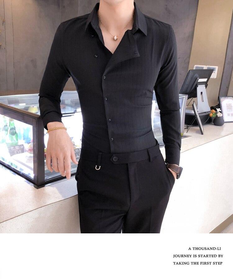 H6c1e0b0389ec4ad097775ca22088776bt Solid Color Shirt Dress Brand New Slim Fit Men Shirt Solid Long Sleeve Shirts Men Camisa Masculina Tuxedo Clothes