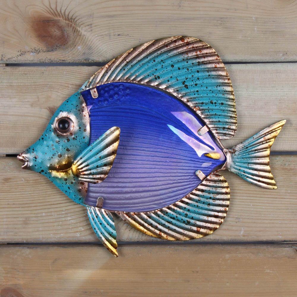 Home Decor Metal Fish Artwork for Garden Decoration Outdoor Animales Jardin with Colour Glass for Garden Statues and Sculptures 4