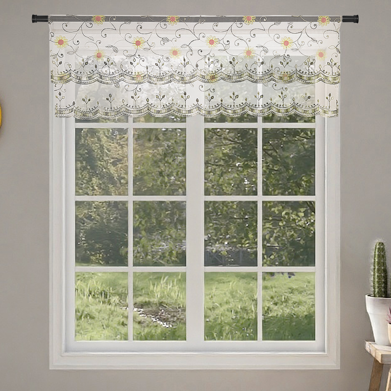 Tulle Sheer Organza Embroidery Flower Short Curtain Valance For