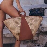 Marken Pu Rattan Splice Tote Taschen für Frauen Handtaschen Mode Große Hohl Woven Schulter Taschen Große Kapazität Stroh Frauen Tasche 2021