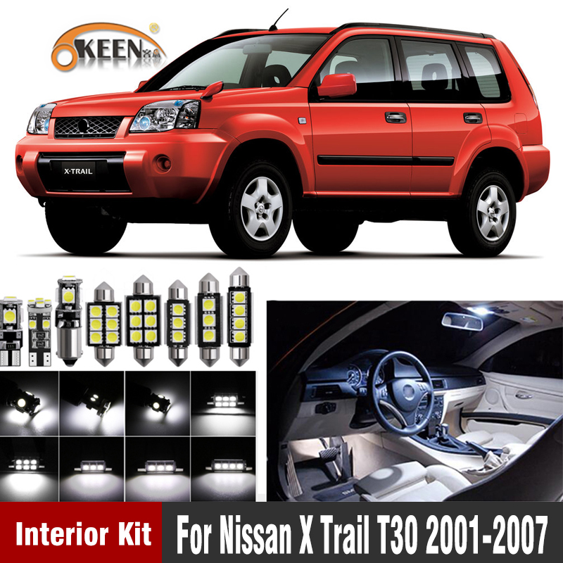 9Pcs Error Free LED Car Interior Dome Map Roof light kit For Nissan X Trail T30 2001 2002 2003 2004 2005 2006 2007Signal Lamp   -