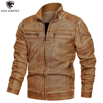 Aolamegs Leather Jacket Men Thick Slim Fit PU Windbreaker Retro Motorcycle Jackets Stand Collar Casual Baggy Outerwear Clothing hanqiu leather jacket men winter autumn pu faux leather solid jackets slim fit zipper pocket stand collar casual men jacket