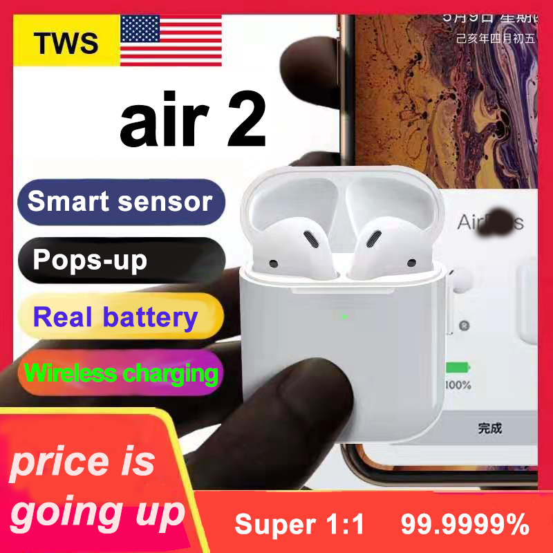 New Air 2 Clone Bluetooth Earphones W1 Chip Pop Up Window Earbuds Wireless Headset For IPhone Earphone 2 Generation Pk I1000 Tws