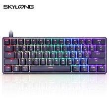 SKYLOONG Teclado mecánico para jugar GK61 SK61, 61 teclas, retroiluminado con LED con iluminación RGB multicolor, programable con cable para PC/Mac/Win