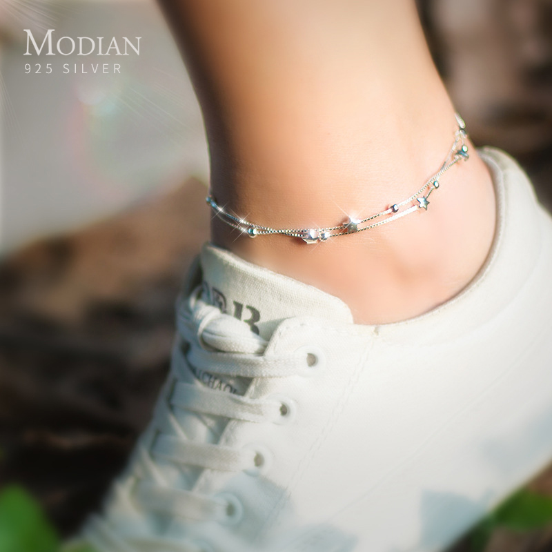 Modian New Double Layer Beads Stars Anklet For Women Genuine 925 Sterling Silver Fashion Foot Leg Chian Link Fine Jewelry Gifts
