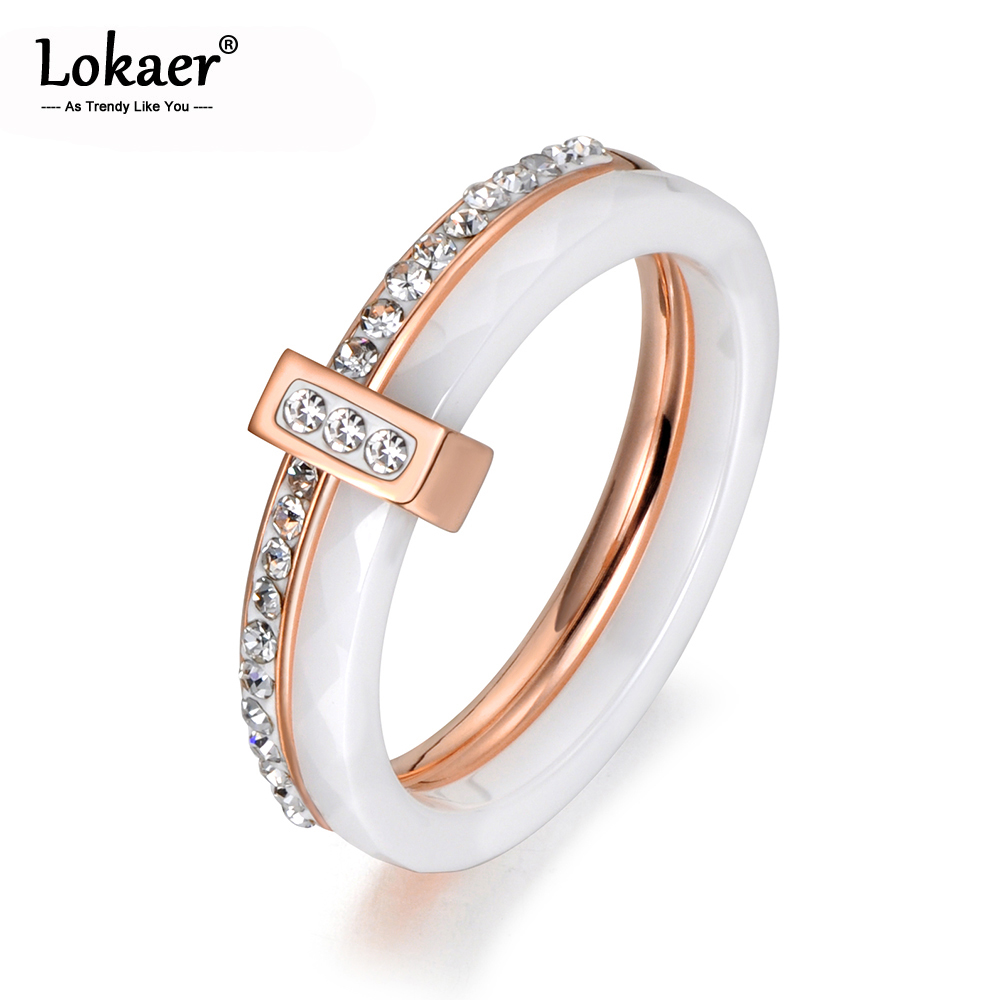 Lokaer 2 Layers Black/White Ceramic Crystal Wedding Rings Jewelry Rose/White Gold Stainless Steel Rhinestone Engagement R18054(China)