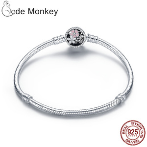 Image 4 - Hot Sale 100% Real  925Silver Bracelet Fit Original Design Beads Charms Bangle DIY Jewelry Making Gift For Women
