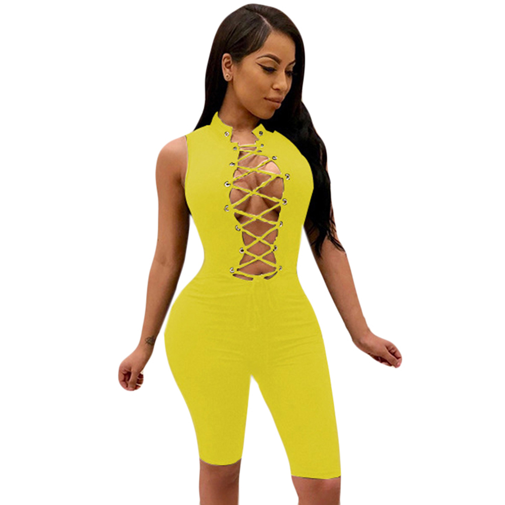 Rompers Women Jumpsuits Elegant Sleeveless Hollow Out Bodycon Bandage Playsuits Summer Casual Vintage Nigh Party Overalls