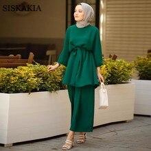Siskakia Mulsim Women Two Pieces Set Plain Solid Fresh Outfit Arab Oman Dubai Middle East Morocco Turkey 2pcs Suit Set Clothes