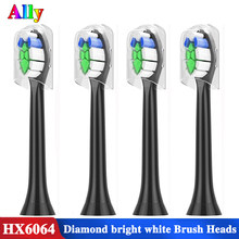 4 pces para philips sonicare diamante limpo proresults flexcare hx6064/14 padrão substituição elétrica escova de dentes cabeças preto