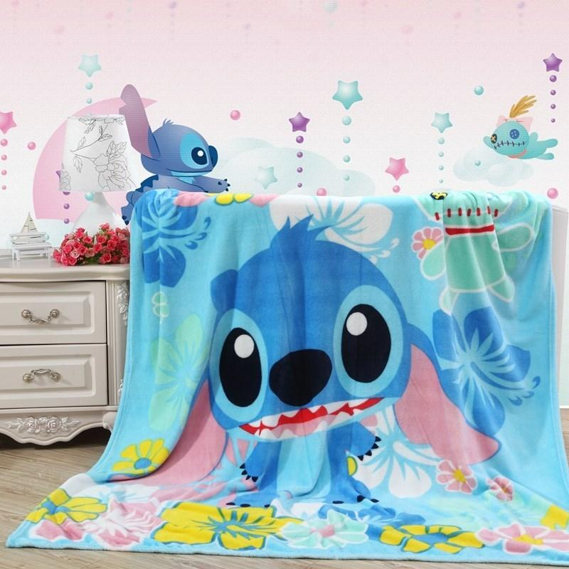Disney Kids Home Textile Cartoon Stitch Printed Cartoon Blanket Boys Gift Coral Fleece Blanket Throw On Bed Sofa Blanket