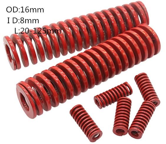 2 peças de compressão de estampagem em espiral morrem mola red16 x 8x20/25/30/35/40/45/50/55/60/65/70/75/80/90/100/125/150mm