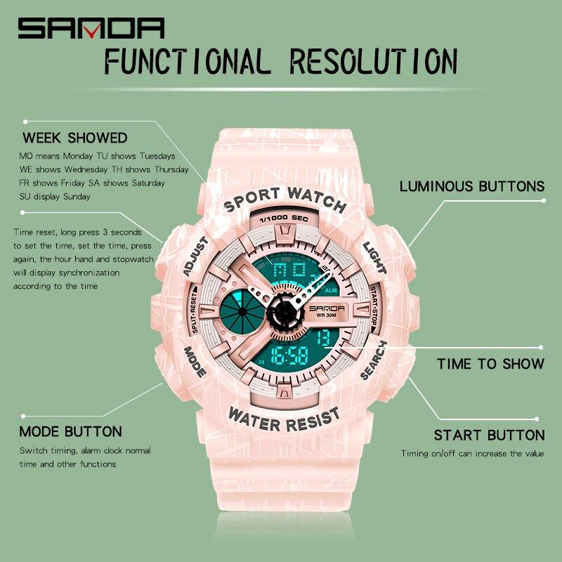 Marque montre femmes hommes mode sport montres chronomètre antichoc électronique wrrristwatch compte à rebours horloge pour cadeau garçons filles 2