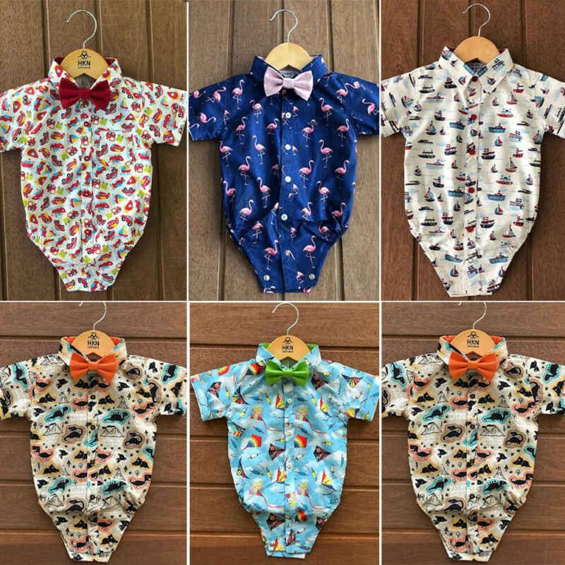 Yürüyor çocuk bebek erkek Flamingo baskılı tulum 2020 yeni beyefendi giysileri hayvan baskılı Romper tulum yaz kıyafetleri 0-24M