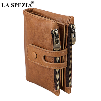 LA SPEZIA Rfid Mens Wallets Vintage Soft 100% Genuine Leather Double Zipper Cards Holder Coins Money Purse Male Clutch Bags