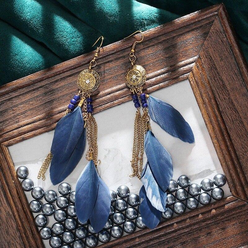Vintage Bohemian Feather Earrings 2020 Women Ethnic Style Retro Sunflower Tassel Dangle Drop Earrings Jewelry
