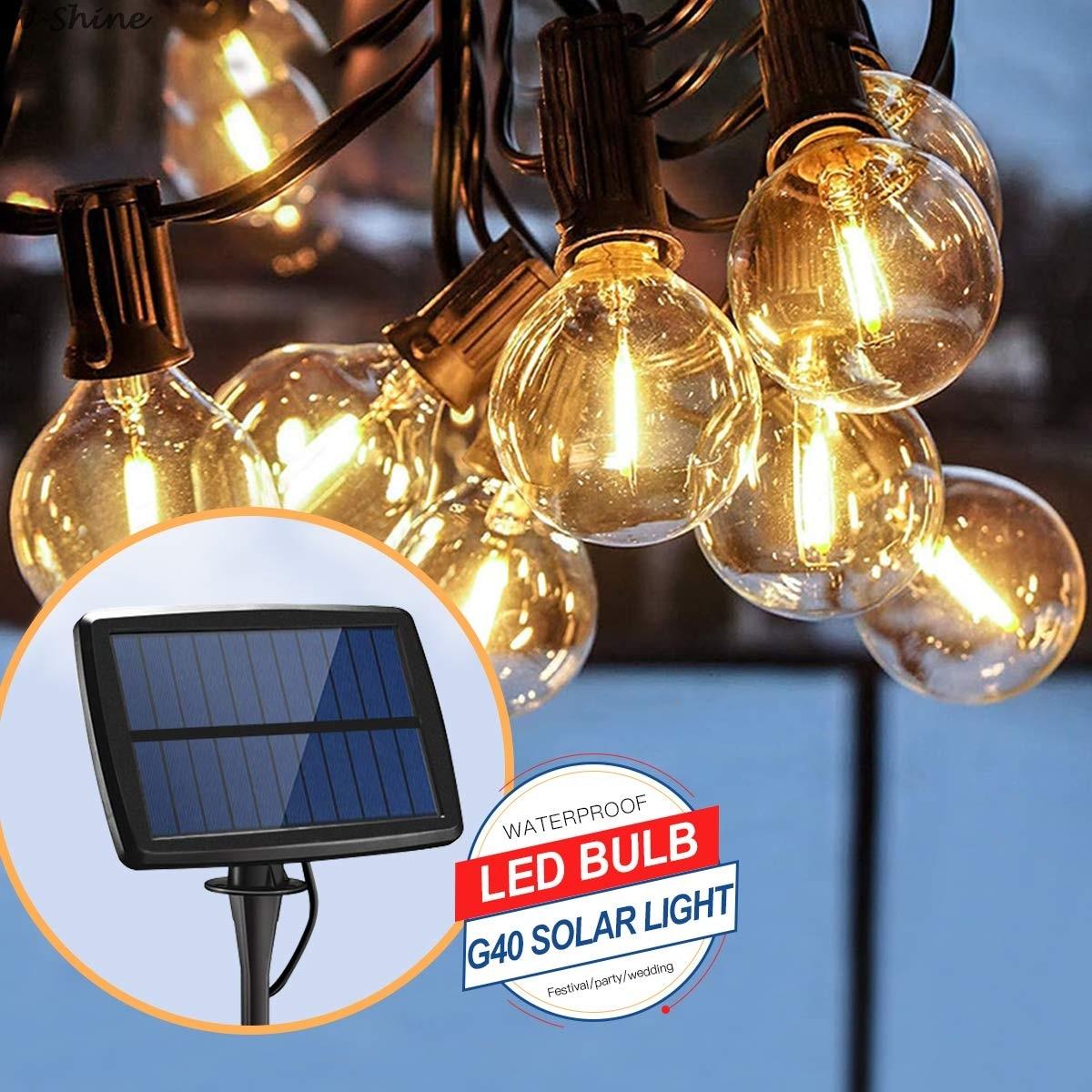 Садовый Солнечный светильник лампочка для гирлянд Эдисона, струнный светильник s G40, ретро, стеклянная лампа для наружного использования, во...