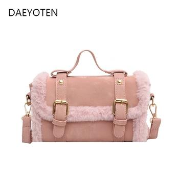 DAEYOTEN Faux Fur Crossbody Bags for Women Winter Fashion Handbags Furry Portable Small Bag Frosted Shoulder Bag 2020 ZM0908