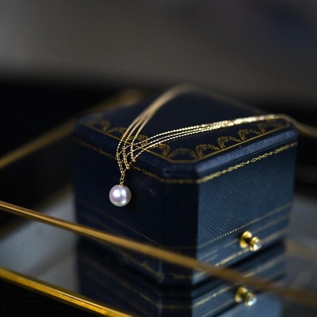 18 k sólido amarelo ouro jóias (au750) feminino colar de renda gargantilha corrente natural akoya mar pérola moda senhora 2