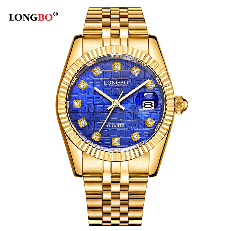 LONGBO Business Casual Fashion Couple Watch Men And Women Calendar Stainless With Diamond Watch