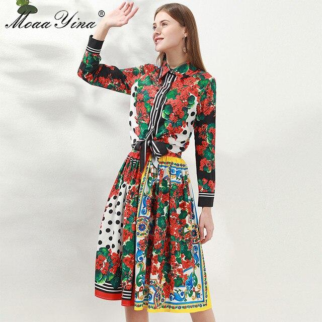 MoaaYina Fashion Designer Set Spring Women Long sleeve Floral Print Shirt Tops+Skirt Elegant Holiday Two piece set
