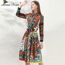 MoaaYina แฟชั่นชุดฤดูใบไม้ผลิผู้หญิงแขนยาวลายดอกไม้พิมพ์เสื้อ + กระโปรง Elegant วันหยุด 2 ชิ้นชุด