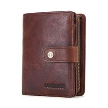 Men RFID Blocking Wallet Genuine Leather ID Card Holder Vintage Bifold Purse