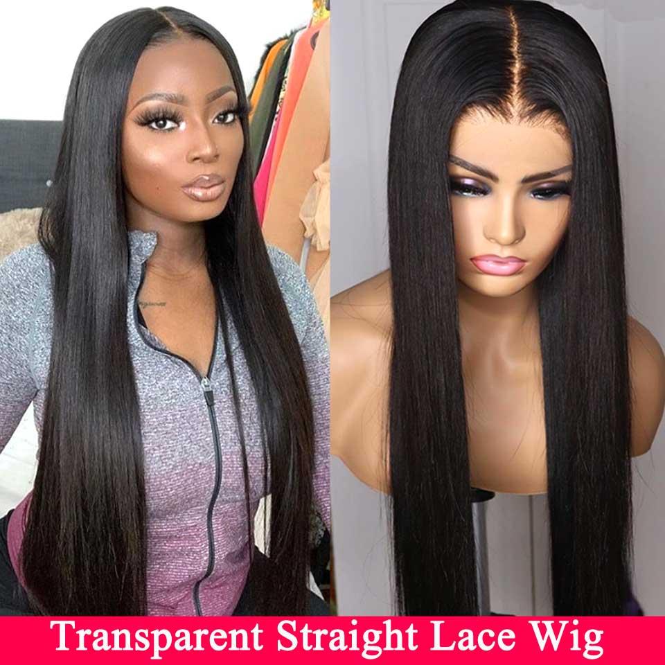 13x4 13x6 dentelle avant perruques de cheveux humains pré plumé Remy Invisible HD Transparent brésilien droite dentelle avant perruque pour les femmes noires