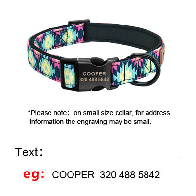 Accessory - Personalised Dog Collar With Leash Nylon Custom Pet ID Collars Colorful Printed Dogs Walking Leash for Small Medium Large Dogs