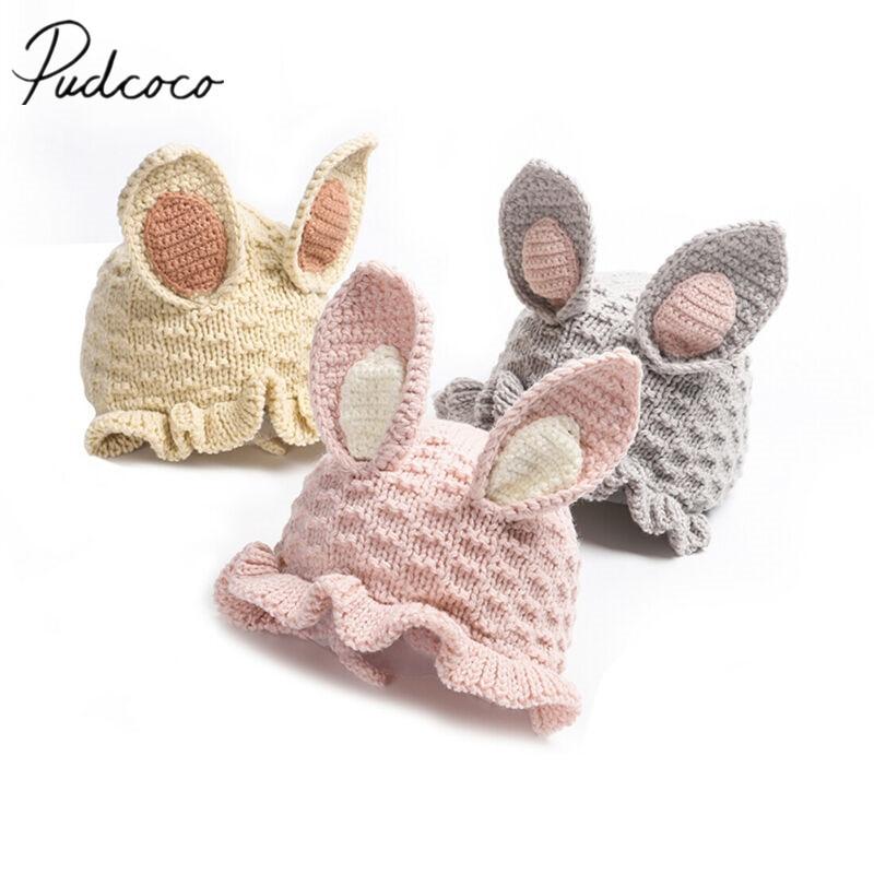 New Rabbit Bunny Ears Hat Toddler Baby Kids Crochet Earflap Beanie Hat Warm Cap