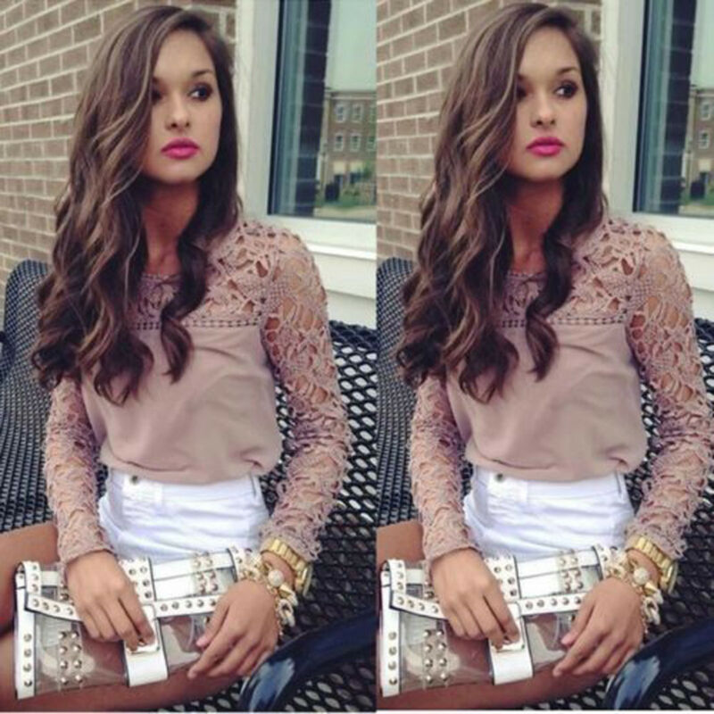 Ladies Women Casual Lace Blouse Patchwork Office Top Blouse Crew Neck Long Sleeve Plus Size Loose Shirt Tee