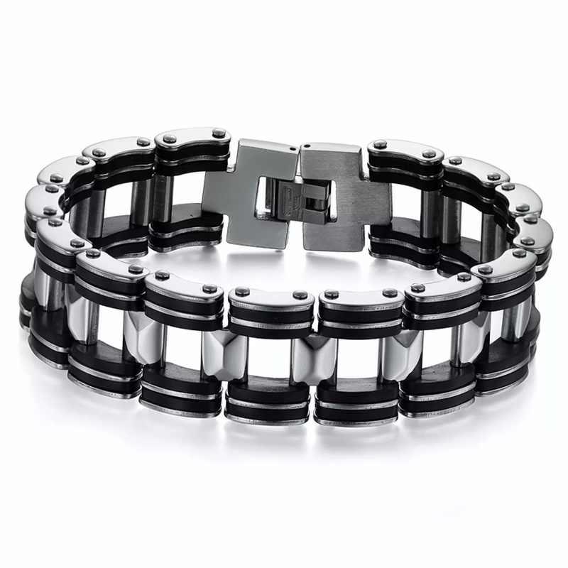 MD biżuteria punkowa silikonowy Biker rowerowy łańcuch motocyklowy bransoletki męskie bransoletki 9mm bransoleta z tytanu stali брацит мужской