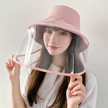 Mężczyźni kobiety ochrona przeciwpyłowa kapelusz typu Bucket Outdoor Travel ochrona UV rybak czapki czapki przeciwsłoneczne ochronna osłona twarzy przezroczysta maska tanie i dobre opinie romacci Dla dorosłych COTTON Poliester WOMEN Sun kapelusze Protective hat Nowość Stałe For Men Women 2020 Anti-Splash Dustproof