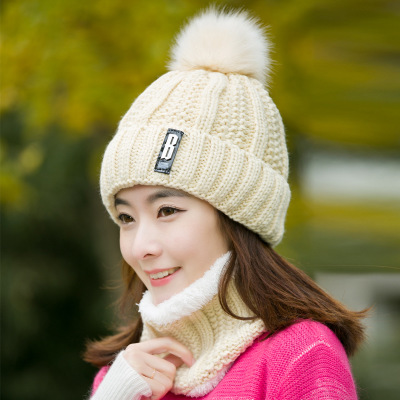 2019 Winter New Knit Beanie Slouchy 2 Pieces Set Pompon Beanie Winter Woman Caps Warm Thicken Hedging Cap Ski Cotton Women's Cap