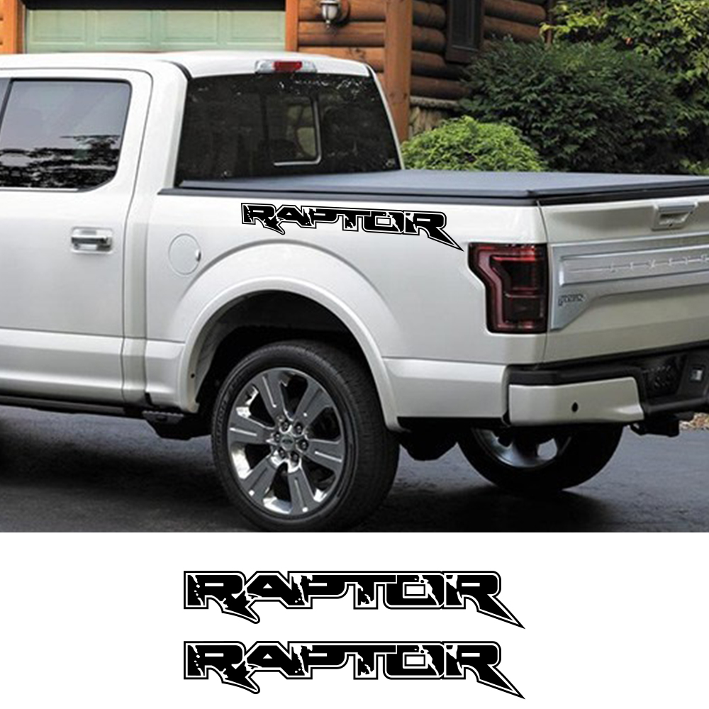 2Pcs Car <font><b>Stickers</b></font> For <font><b>Ford</b></font> <font><b>Raptor</b></font> F150 F250 F350 F450 F550 F650 F750 Pickup Auto Vinyl Film Sport Decals Car Tuning Accessories image